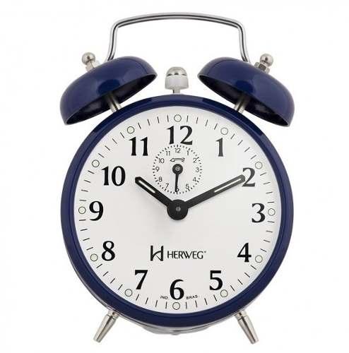 Relógio Despertador Herweg 2208 011 Azul Estilo Antigo Retrô