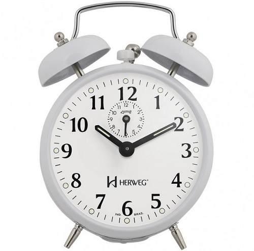 Relógio Despertador Herweg 2208 021 Branco Antigo Retrô