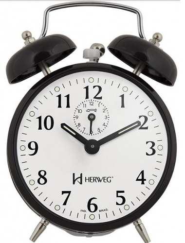 Relógio Despertador Herweg 2208 034 Preto Antigo Retrô