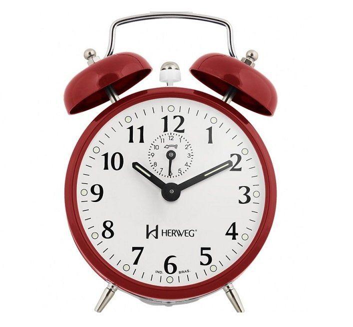 Relógio Despertador Herweg 2208 044 Vermelho Antigo Retrô