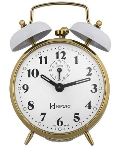 Relógio Despertador Herweg 2215 021 Branco Antigo Retrô