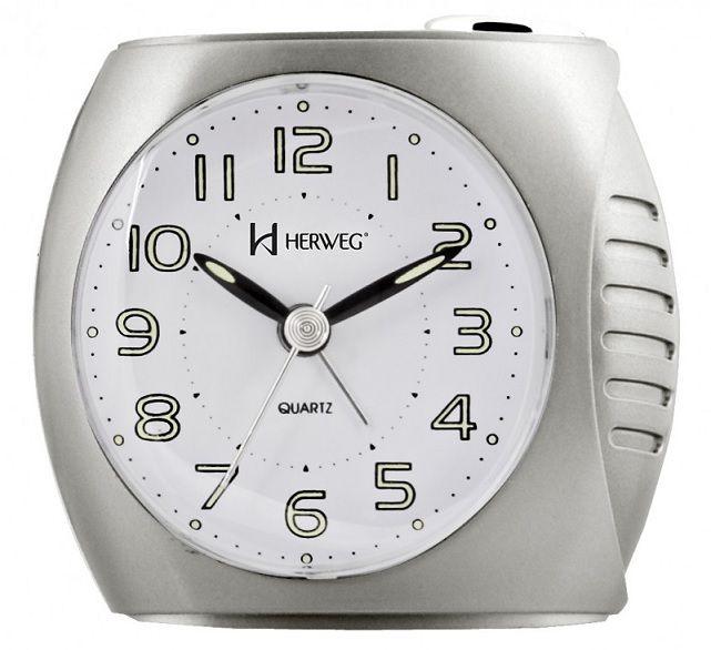 Relógio Despertador Herweg 2586 070 Prata Metalico