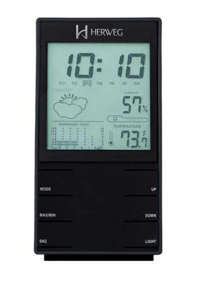 Relogio Digital de Mesa Herweg 2969 035 Termometro Higrometro