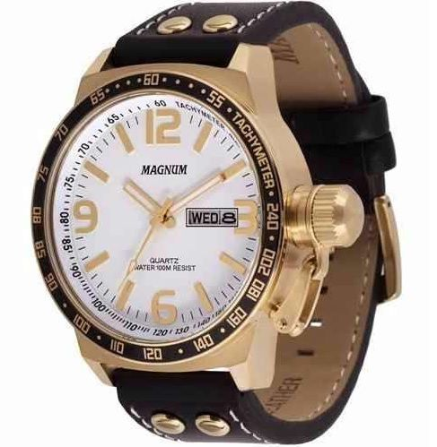 Relógio Magnum MA31542b Calendario Pulseira Couro