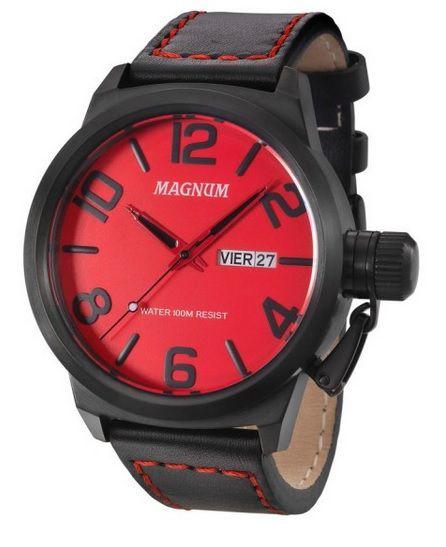 Relógio Magnum MA33399V Calendario Pulseira Couro