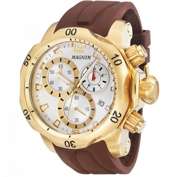Relógio Magnum MA33755B Calendario Cronografo Pulseira Silicone
