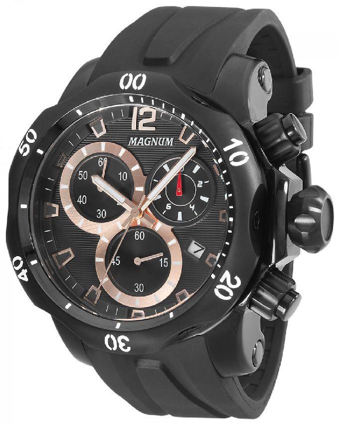 Relógio Magnum MA33755P Calendario Cronografo Pulseira Silicone