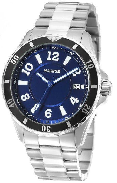 0b0860219555b Relógio Magnum MA34521A Calendario Pulseira Metal - Loja Solare ...