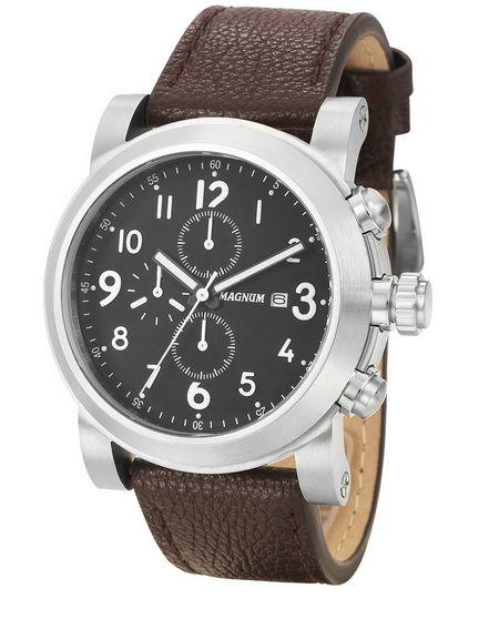 Relógio Magnum MA34736T Calendario Cronografo Pulseira Couro