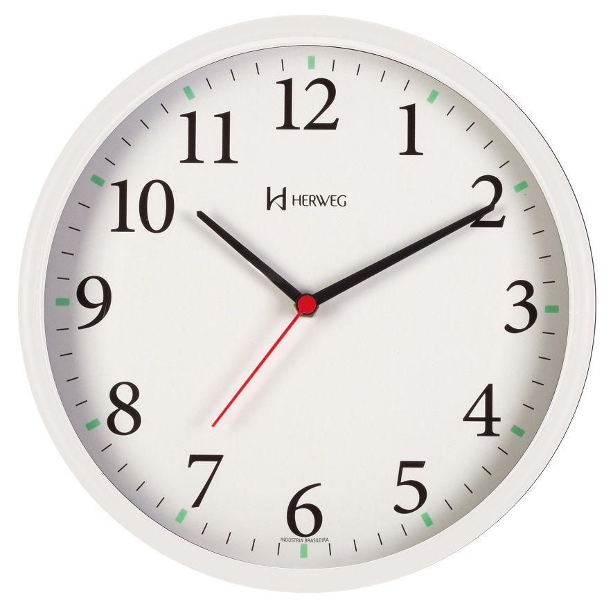 Relógio Parede Herweg 6126s 021 Branco  Silencioso Sem Tic Tac