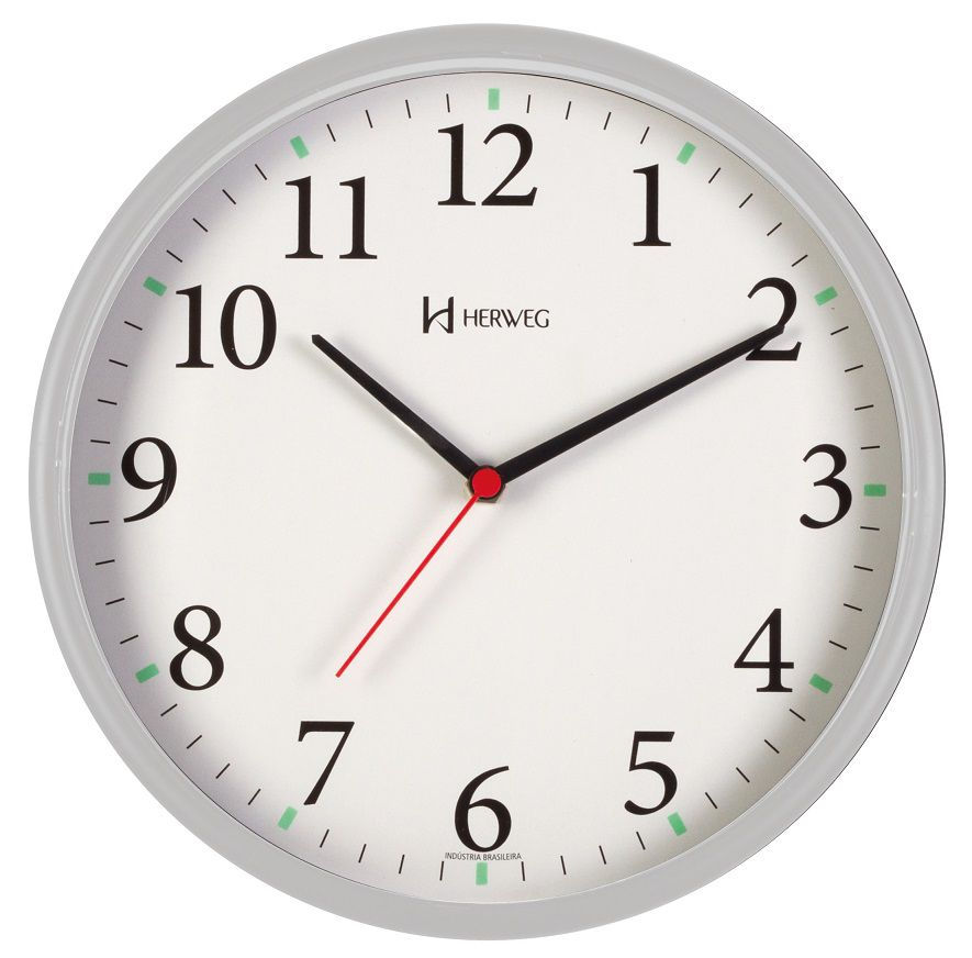 Relógio Parede Herweg 6126s 024 Cinza  Silencioso Sem Tic Tac