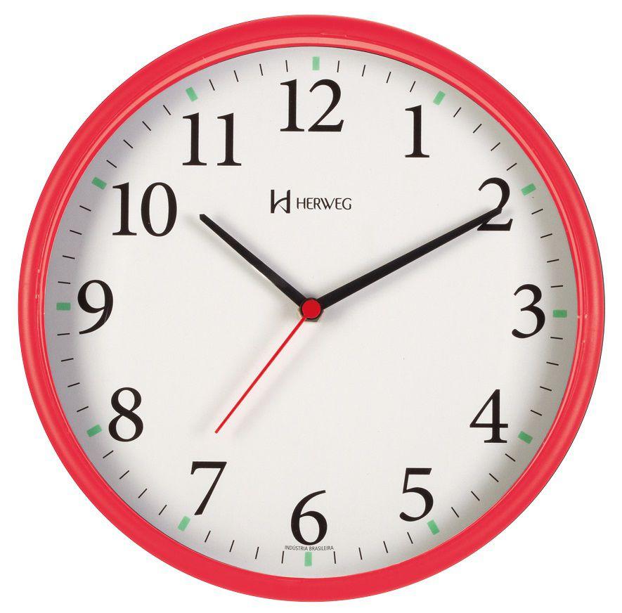 Relógio Parede Herweg 6126s 269 Vermelho  Silencioso Sem Tic Tac