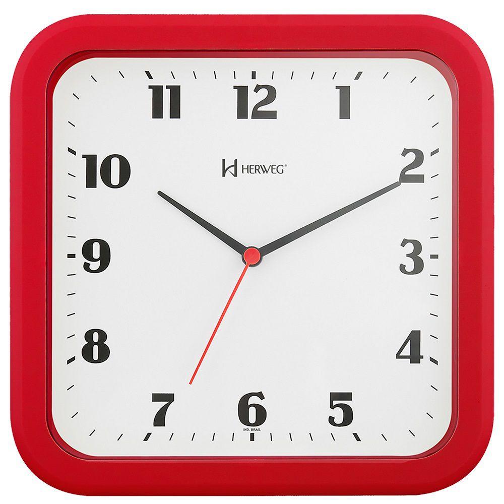 Relógio Parede Herweg 6145 044 Quadrado Vermelho