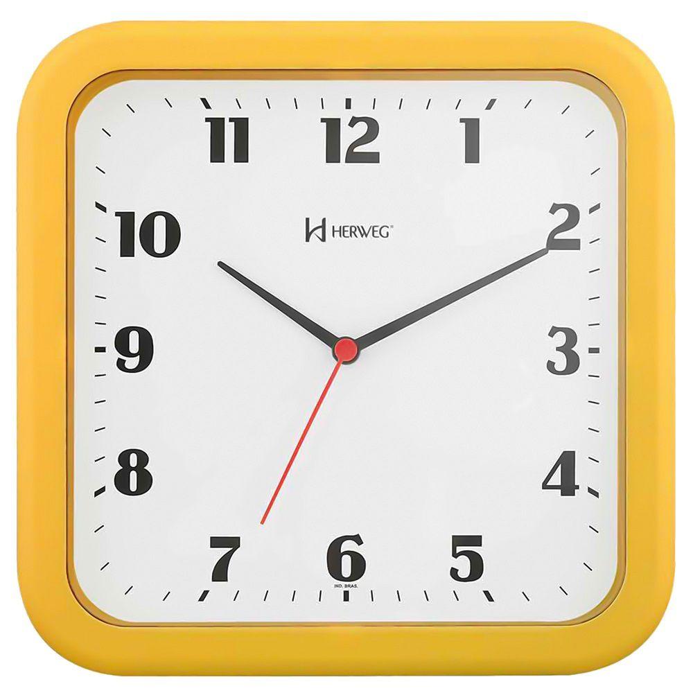 Relógio Parede Herweg 6145 268 Quadrado Amarelo