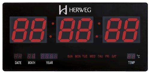 Relógio Parede Herweg 6430 Digital Led Termometro Calendario