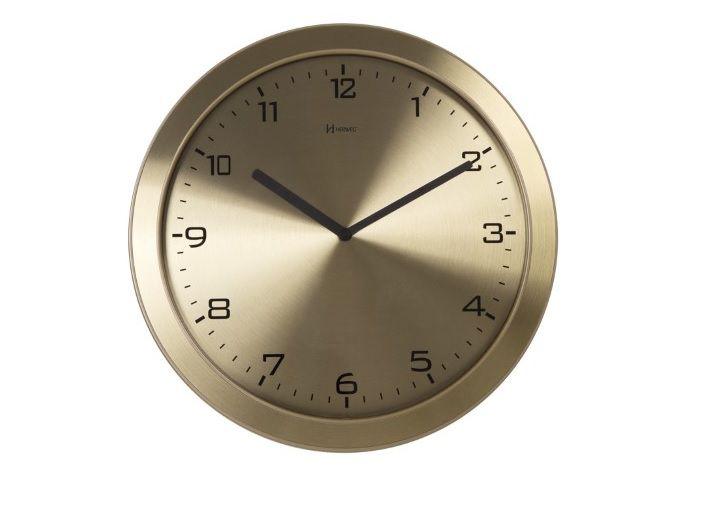Relógio Parede Herweg 6456 308 Aluminio Escovado Dourado