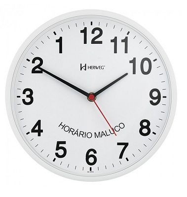 79a205ae32b RELOGIO PAREDE HERWEG 6646 021 INVERTIDO ANTI HORARIO BRANCO - Loja ...