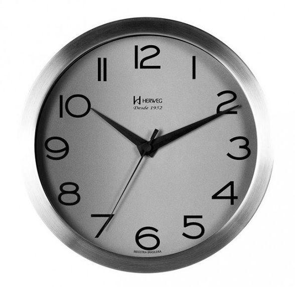 Relógio Parede Herweg 6717 079 Aluminio Escovado 40cm