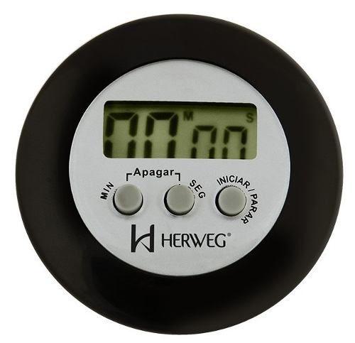 Timer Herweg 3303 034 Contagem Regressiva Alarme Sonoro Preto