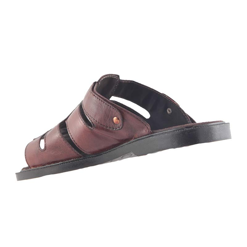 Chinelo Sandália Masculino Mogno Em Couro Legítimo Confortável 701  - Ian Calçados