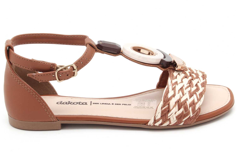 Sandália Dakota Rasteira Pedraria Trançado Z8183