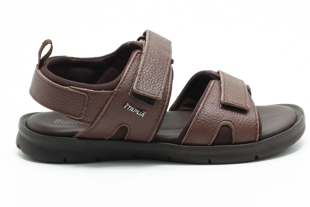Sandália Itapuã Conforto Masculino Velcro Couro Legítimo 17405Z18  - Ian Calçados
