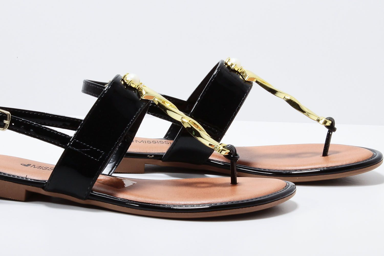 Sandália Mississipi Feminina Rasteira Verniz Metal Perola X9001  - Ian Calçados