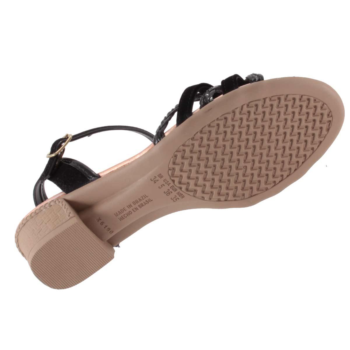 Sandália Mississipi Feminino Salto Baixo Tiras Trançado X6951  - Ian Calçados
