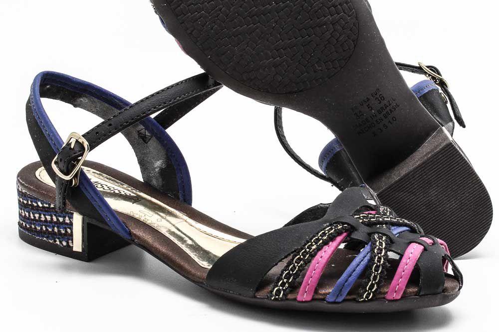 Sandália Mississipi Tiras Salto Baixo Feminino X3511  - Ian Calçados