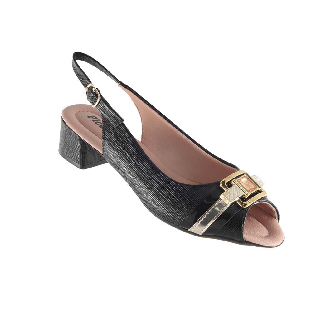Sandália Peep Toe Salto Baixo Piccadilly 166003  - Ian Calçados