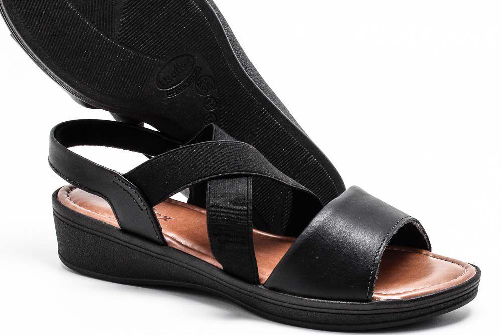 Sandália Usaflex Couro Elástico Conforto Feminina V1251  - Ian Calçados