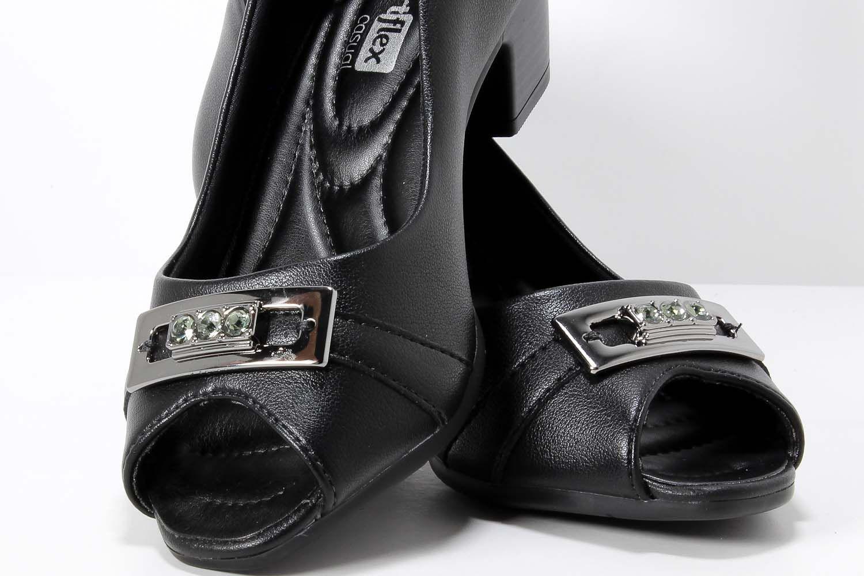 Sapato Comfortflex Peep Toe Feminino Metal 1887405  - Ian Calçados