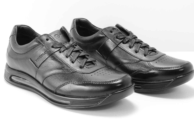 Sapato Democrata Smart Comfort Air 360 Couro Masculino 202101  - Ian Calçados