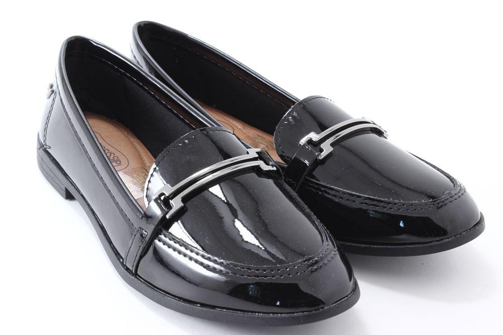 Sapato Mississipi Feminino Oxford Verniz Metal Q0372  - Ian Calçados
