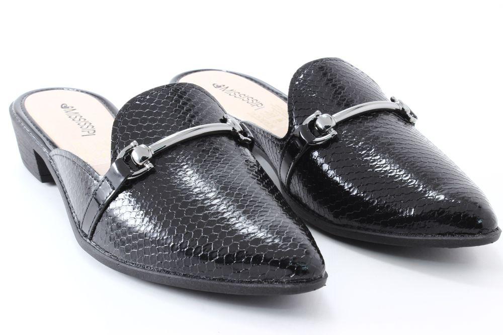 Sapato Mississipi Mule Feminino Croco Metal X9755  - Ian Calçados
