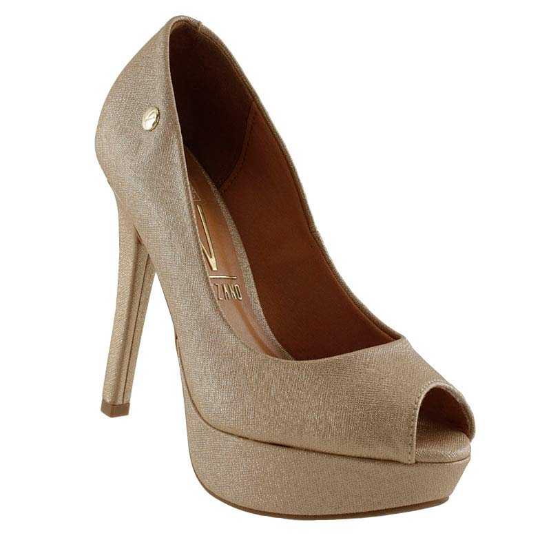 Sapato Peep Toe Meia Pata Vizzano Napa Metal 1830100  - Ian Calçados