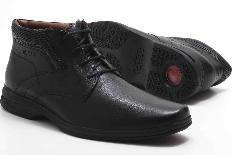 Sapato Social Ferracini React Botinha Zíper Couro Masculino 3443-562  - Ian Calçados