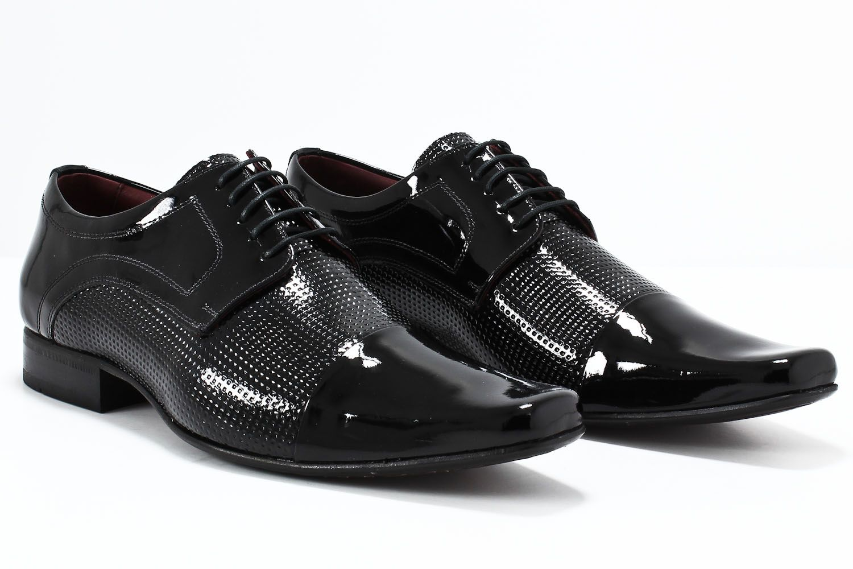 Sapato Social Gofer Masculino Cadarço Sola Couro Verniz 0500  - Ian Calçados