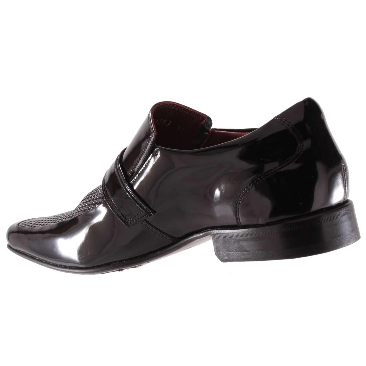 Sapato Social Gofer Masculino Fivela Couro Verniz Legítimo 0253A  - Ian Calçados