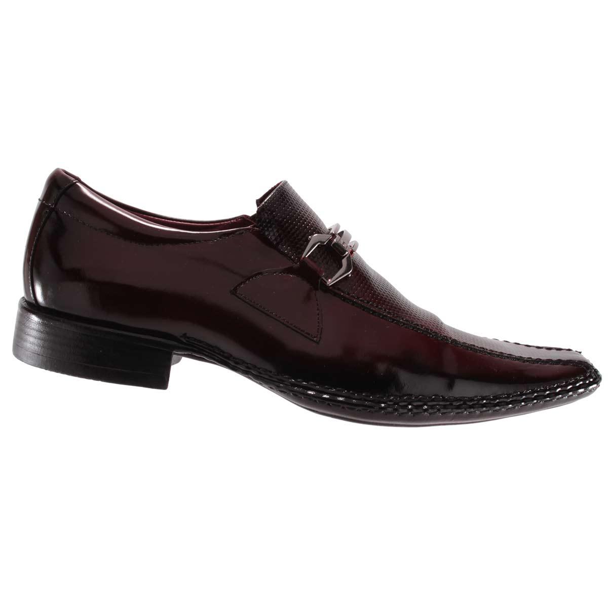 Sapato Social Gofer Masculino Fivela Couro Verniz Legítimo 0571  - Ian Calçados