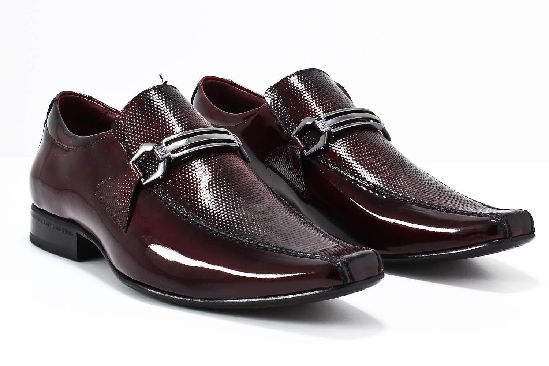 Sapato Social Gofer Masculino Fivela Sola Couro Verniz 0571  - Ian Calçados