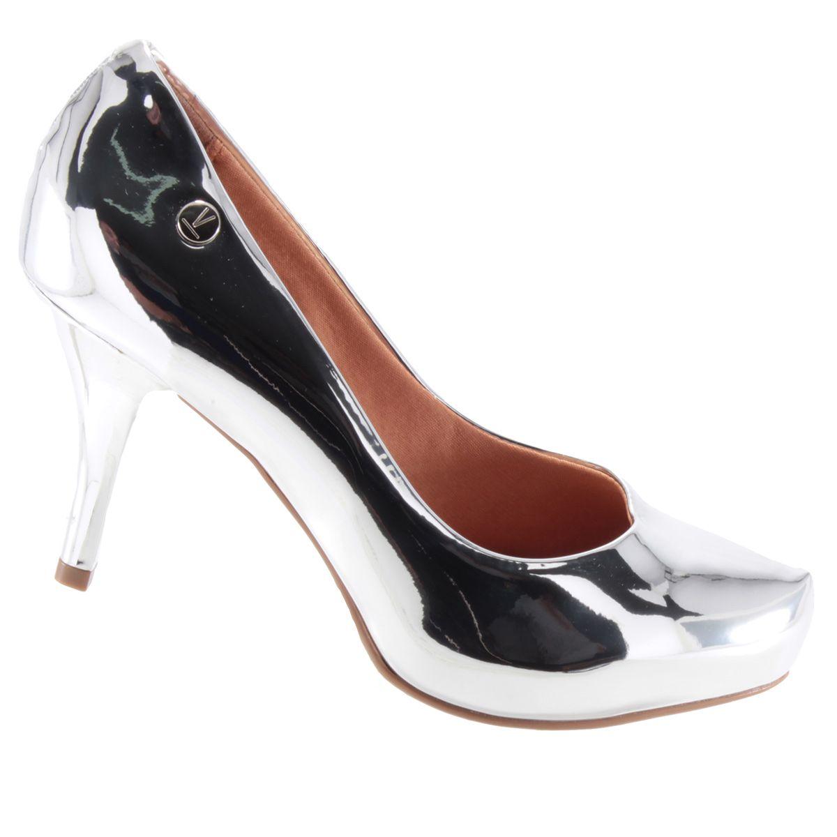 Scarpin Vizzano Sapato Feminino Salto Alto Meia Pata Metalizado 1781621  - Ian Calçados