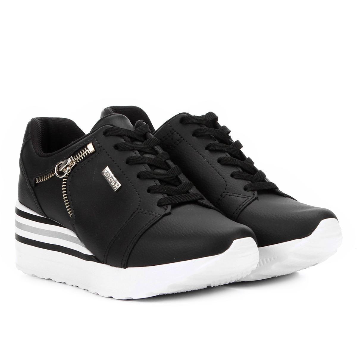 Tênis Kolosh Sneaker Anabela Zíper Lateral Feminina C1402  - Ian Calçados