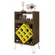 Aparador Barzinho com Adega Dior Madeira Rústica com Amarelo - Móveis Bechara