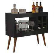 Aparador de Sala Bar Retrô com Adega Siena Preto - MóveisAqui