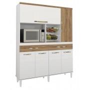 Armário De Cozinha Completo Luxo 1,36m Branco Brilho com Canelato - Trinobél Móveis