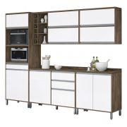 Armário de Cozinha Completo Turquesa Castanho com Branco - Vitamov