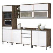 Armário de Cozinha Completo Turquesa com Porta de Vidro Castanho com Branco - Vitamov