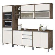 Armário de Cozinha Completo Turquesa com Porta de Vidro Castanho com Off White - Vitamov