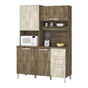 Armário de Cozinha Diamante 4 Portas Amêndoa com Ártico - Vitamov